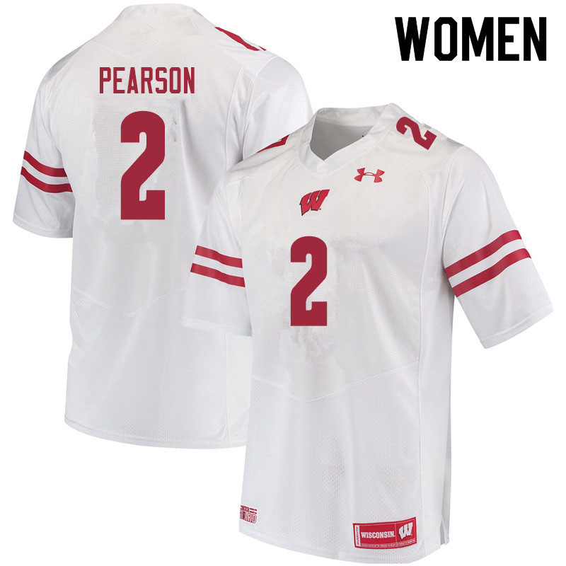 Women #2 Reggie Pearson Wisconsin Badgers College Football Jerseys Sale-White